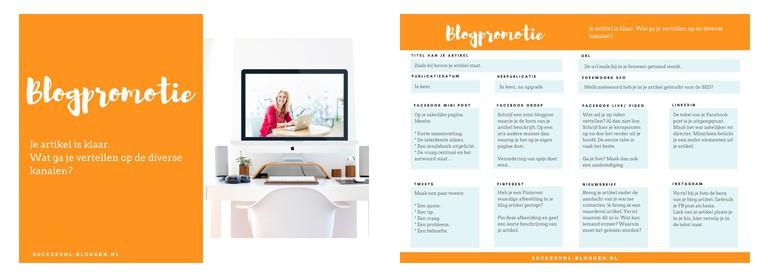 werkboek blogpromotie succesvol-bloggen.nl